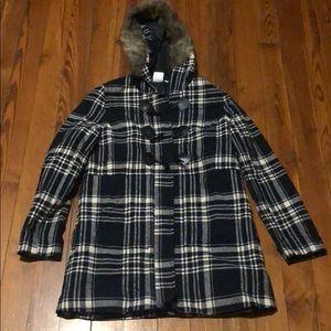 NBP Brand Plaid Black / White Jacket with Fur Hood